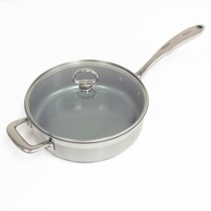 Induction 21 Steel 10 in. Stainless Steel Ceramic Nonstick Skillet in Brushed Stainless Steel with Glass Lid
