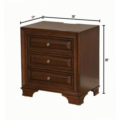 Brandt Transitional 3-Drawers Brown Cherry Style Night Stand