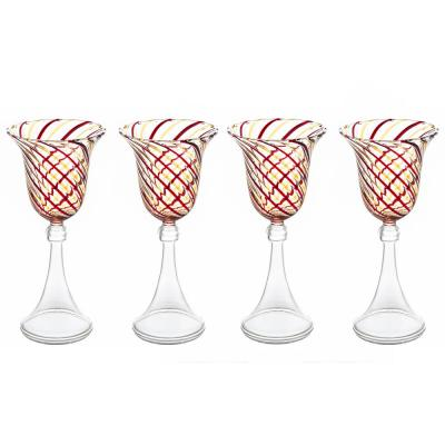 """Red and Yellow Swirl Wine Glass, 6 oz., (Set of 4), 3.5""""D x 7.75""""H"""