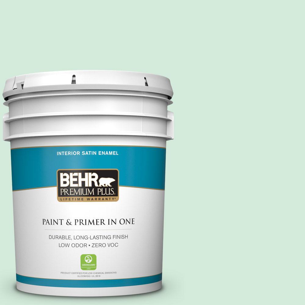 BEHR Premium Plus 5-gal. #M410-1 Jade Mist Satin Enamel Interior Paint