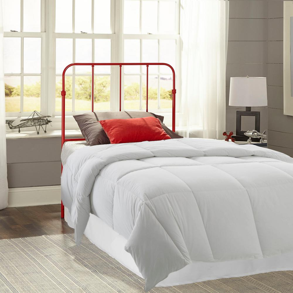 Nolan Candy Red Twin Headboard with Metal Duo Panels
