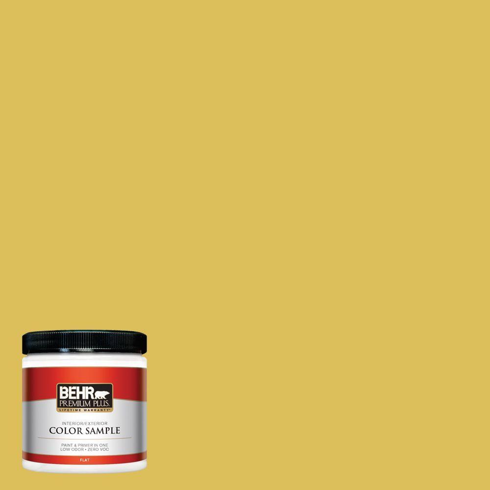 BEHR Premium Plus 8 oz. #P320-6 Sulfur Yellow Interior/Exterior Paint Sample