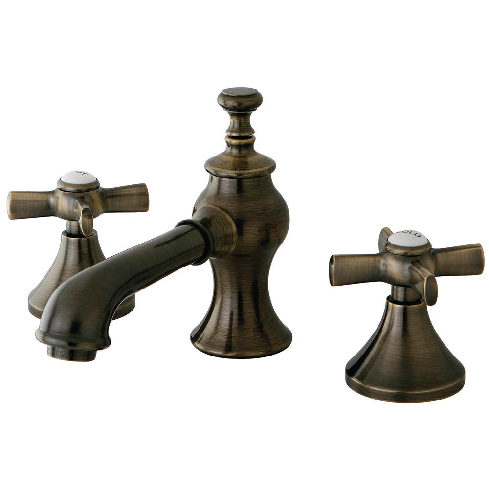 Kingston brass modern cross 8 in widespread 2 handle mid arc bathroom faucet in antique brass Antique brass faucet bathroom