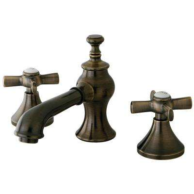 Modern Cross 8 in. Widespread 2-Handle Mid-Arc Bathroom Faucet in Antique Brass