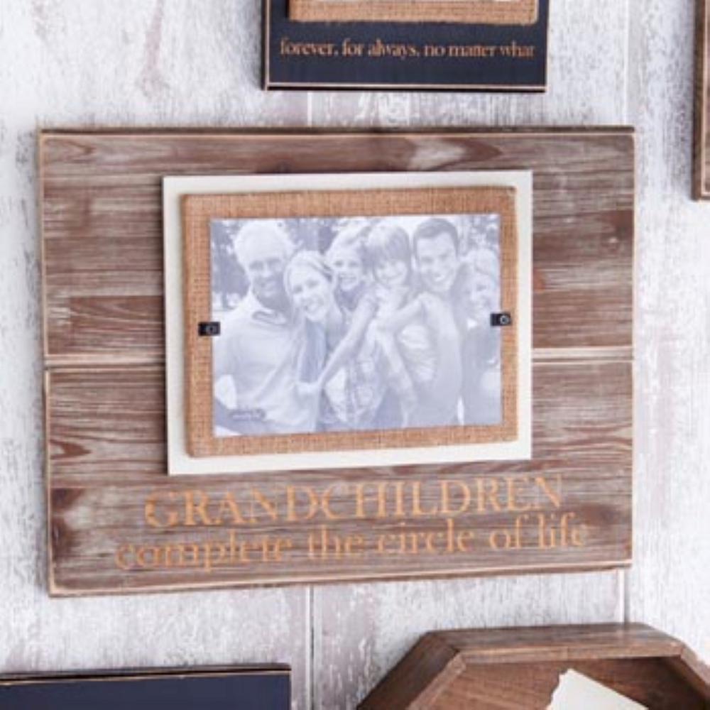 Grandchildren 5 in. x 7 in. Horizontal Pine Frame with Burlap Mat