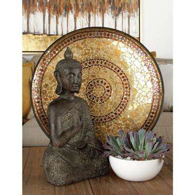 Tan and Violet Iron and Glass Mosaic Platter with Easel