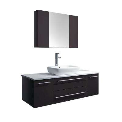 Lucera 48 in. W Wall Hung Vanity in Espresso with Quartz Stone Vanity Top in White with White Basin and Medicine Cabinet