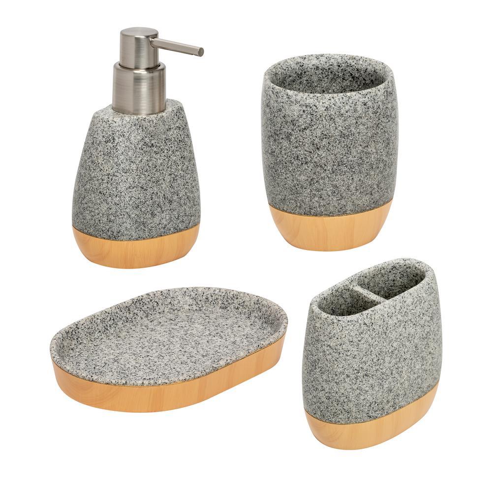 4-Piece Bathroom Accessories Set in Resin Grey