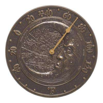 Analog French Bronze Moon Thermometer