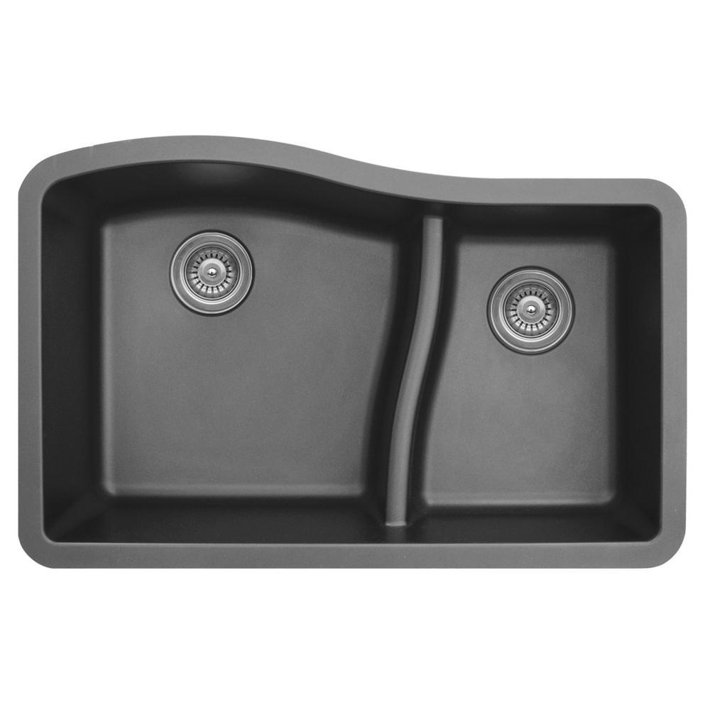 Undermount Quartz Composite 32 in. 60/40 Double Bowl Kitchen Sink in Grey