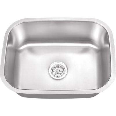 Undermount 23 in. 16-Gauge Stainless Steel Bar Sink in Brushed Stainless