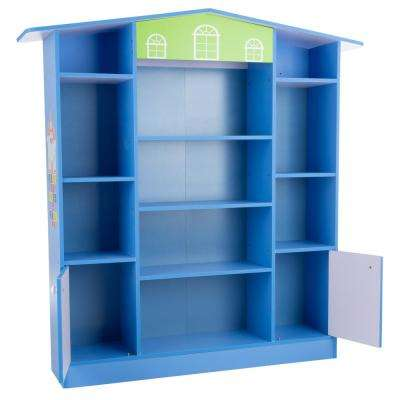 Cottage Design Dollhouse Shaped Bookcase in Blue