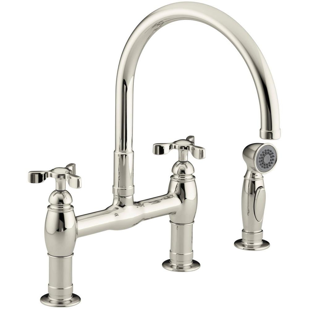 KOHLER Parq 2 Handle Bridge Kitchen Faucet With Side Sprayer In Vibrant Polished  Nickel K 6131 3 SN   The Home Depot