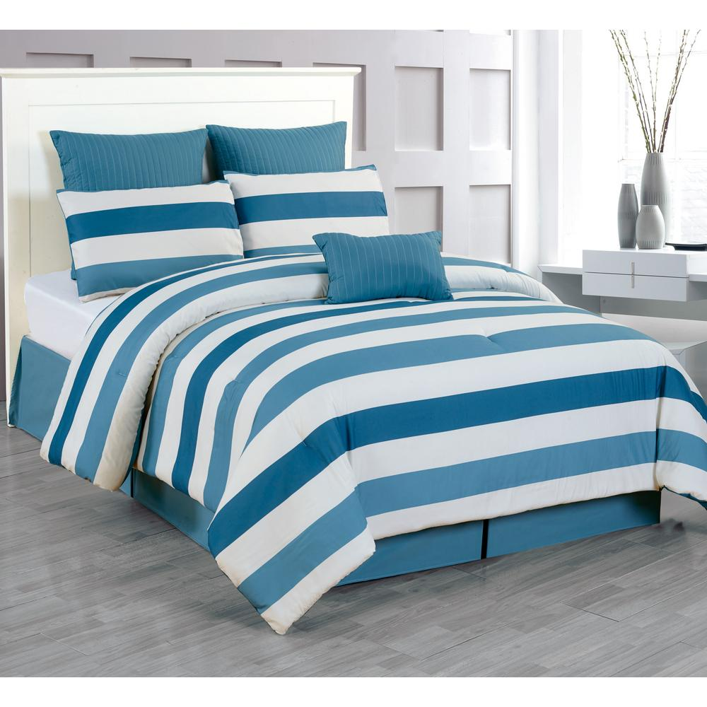 Darby Blue-Navy 7-Piece King Comforter Set