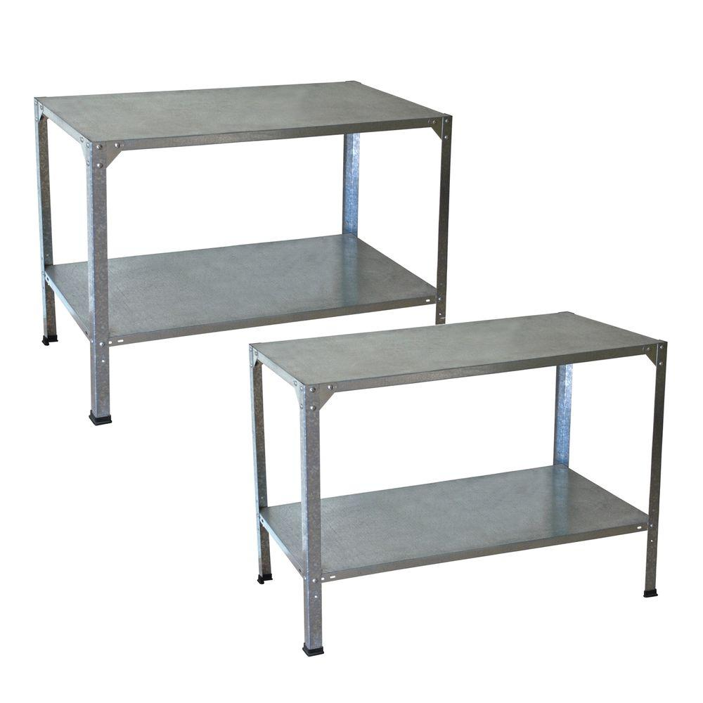 Palram greenhouse steel potting bench 2 bench bundle 702439 the home depot Home depot benches