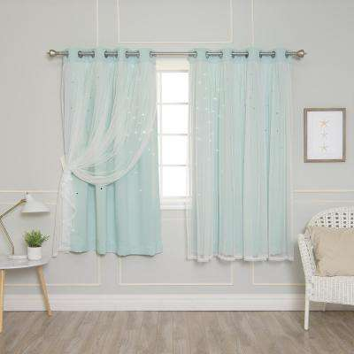 63 in. L Mint Tulle Overlay Star Cut Out Blackout Curtain Panel (2-Pack)