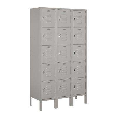 65000 Series 36 in. W x 66 in. H x 12 in. D 5-Tier Box Style Metal Locker Unassembled in Gray