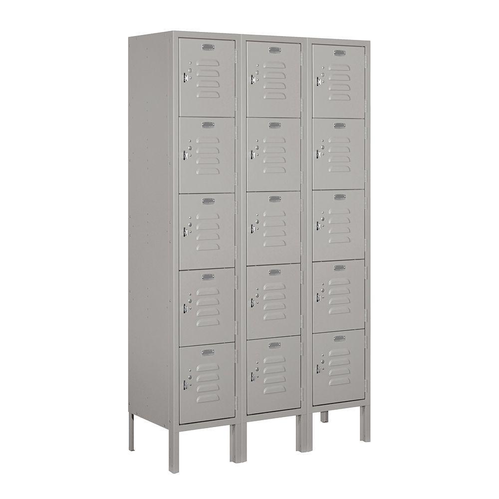 65000 Series 36 in. W x 66 in. H x 12 in. D Five Tier Box Style Metal Locker Unassembled in Gray