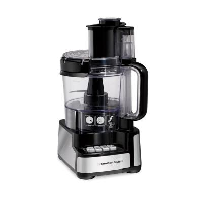 Stack and Snap 12-Cup 3-Speed Stainless Steel and Black Food Processor