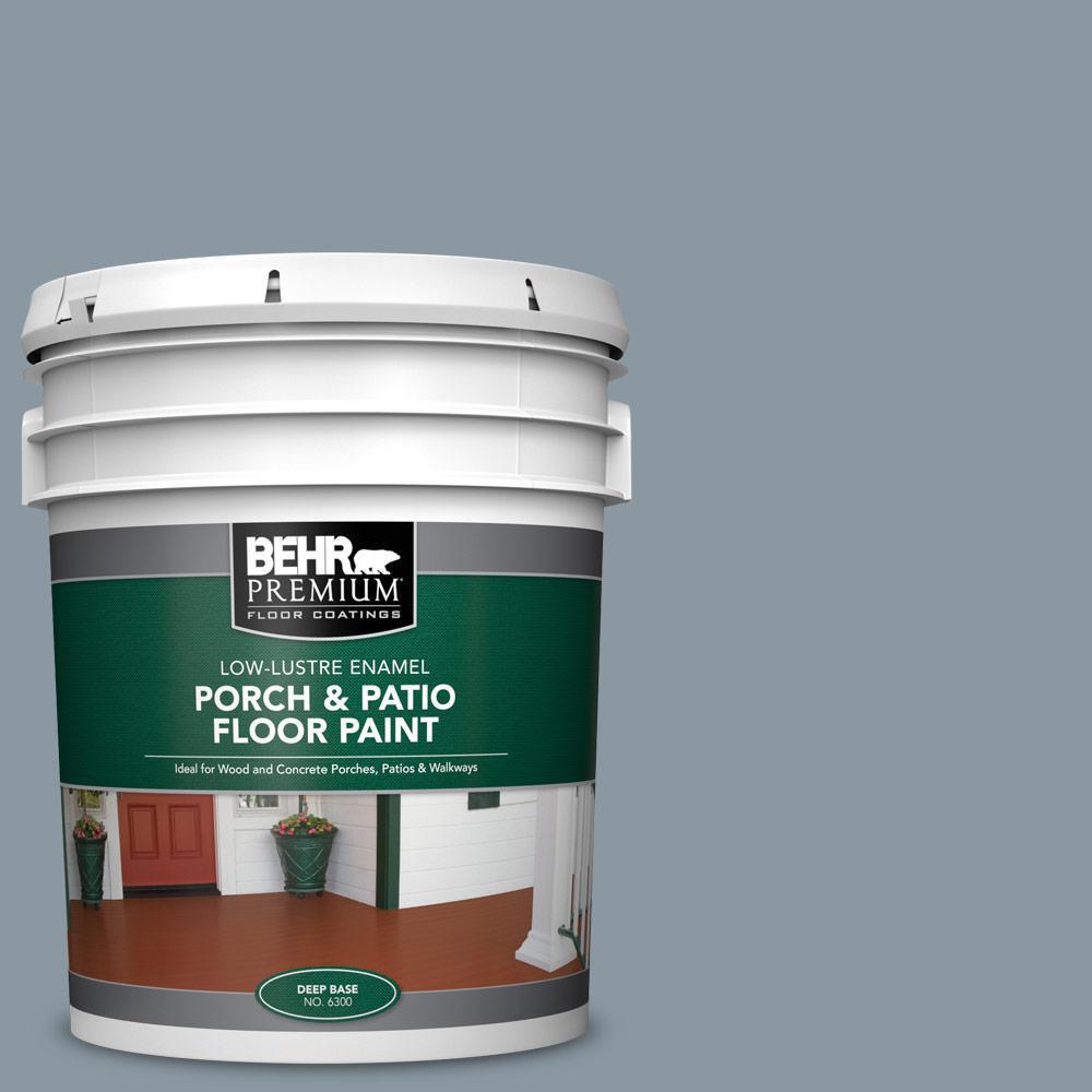 Behr Premium 5 Gal N490 4 Teton Blue Low Lustre Enamel Interior Exterior Porch And Patio Floor Paint 630005 The Home Depot