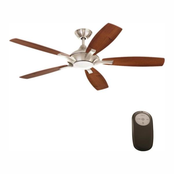 Home Decorators Collection Petersford 52 In Integrated Led Indoor Brushed Nickel Ceiling Fan With Light Kit And Remote Control 24425 The Home Depot