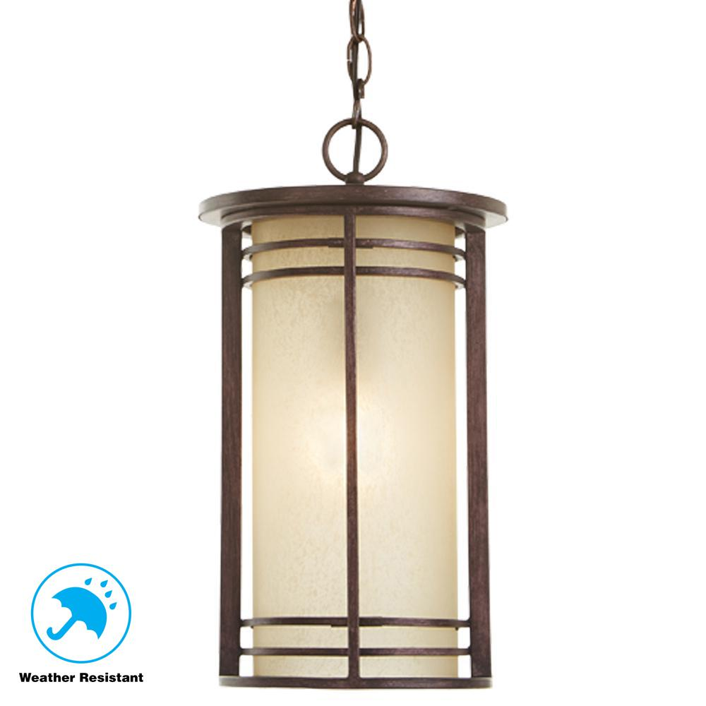 Home Decorators Collection 1 Light Bronze Outdoor Pendant With Amber Gl