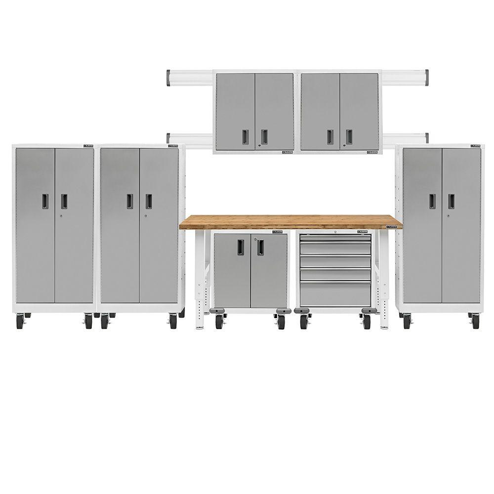 Gladiator Premier Series Pre Assembled 66 In. H X 162 In. W X 25 In. D  Steel Garage Cabinet Set In Everest White (8 Pieces) GAPK06P5DW   The Home  Depot