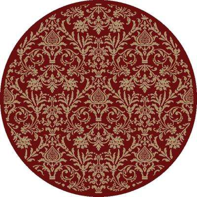 Jewel Damask Red 5 ft. Round Area Rug