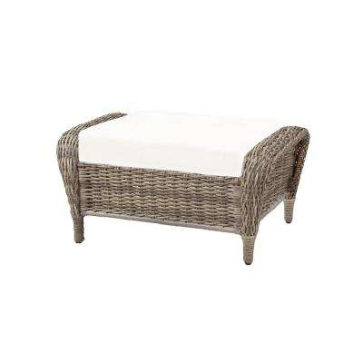 Cambridge Grey Wicker Outdoor Ottoman with Cushions Included, Choose Your Own Color