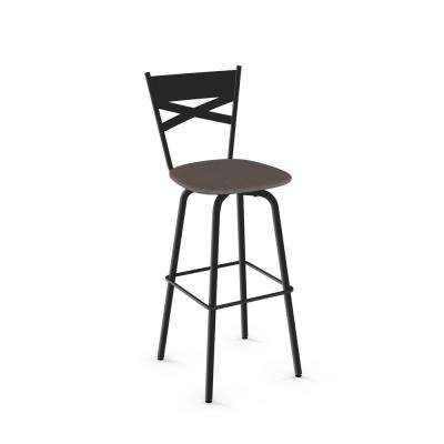 Tommy 26 in. Textured Black Metal Warm Medium Grey Polyester Counter Stool