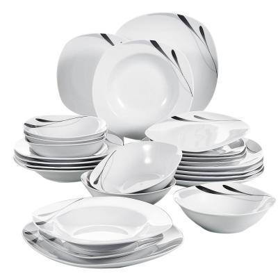 24-Piece White with Black Porcelain Dinnerware Set Plates and Bowls Set (Service for 6)
