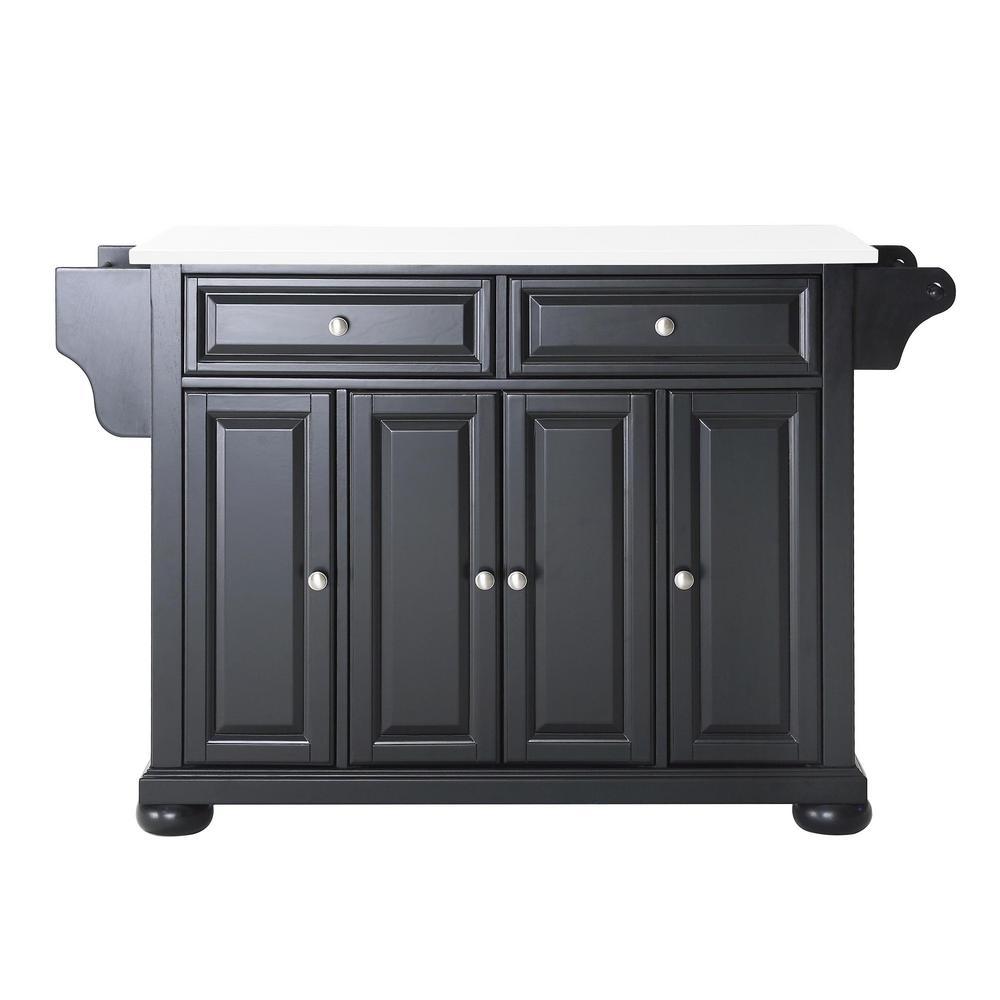 Alexandria Black Full Size Kitchen Island/Cart with Granite Top