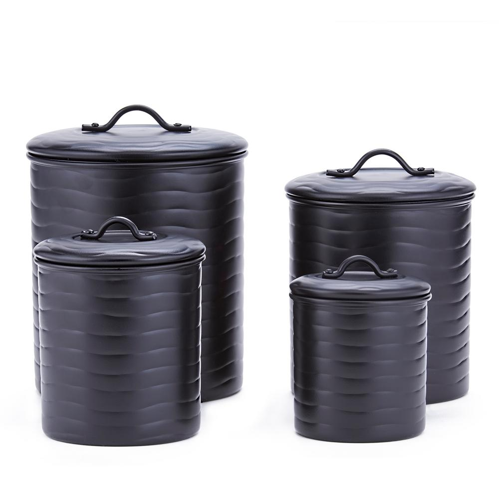 black kitchen canister old dutch international 4 piece wave in matte black stainless steel canister set with fresh seal 8841