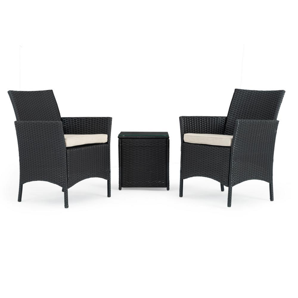 Silva Black 3-Piece Wicker Patio Conversation Set with Beige Cushions