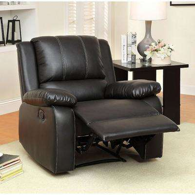 Gaffey Transitional Style Black Recliner