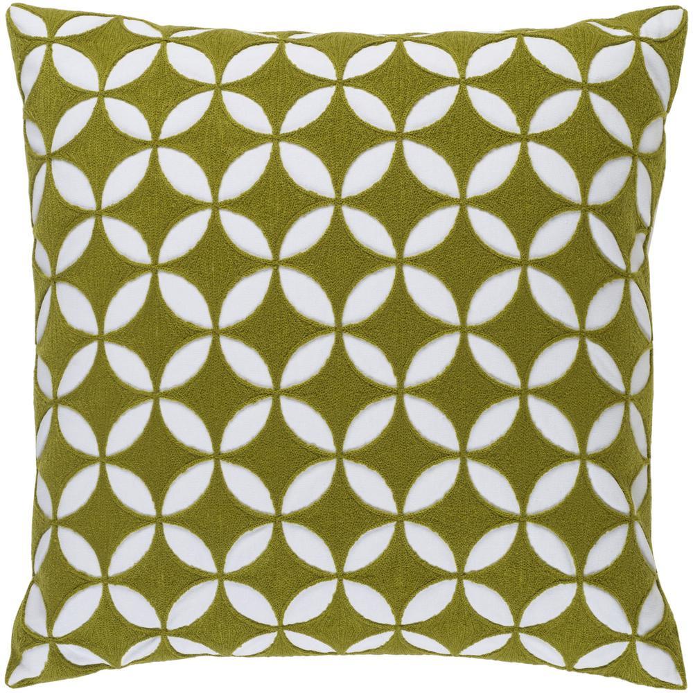 Bulstrode Grass Green Geometric Polyester 18 in. x 18 in. Throw Pillow