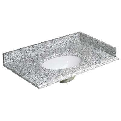 37 in. W Granite Vanity Top in Rushmore Grey and White Sink