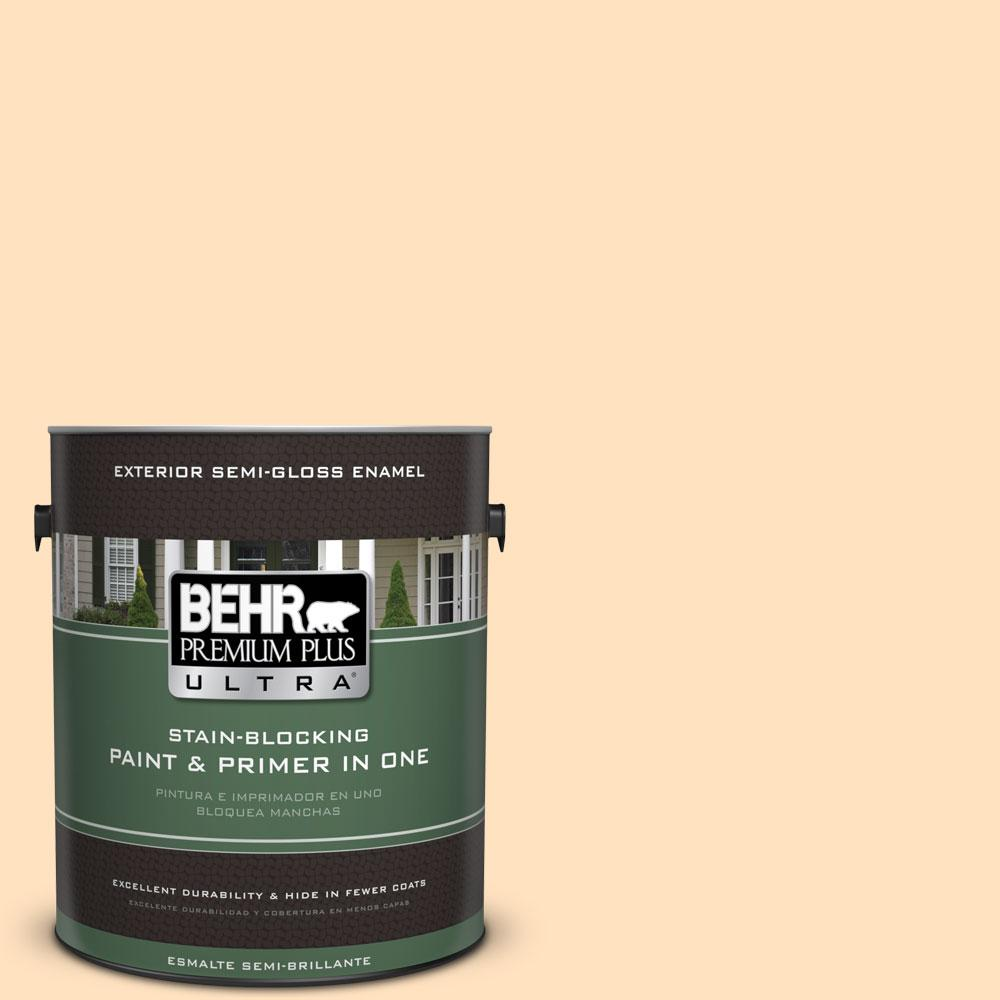 BEHR Premium Plus Ultra 1-gal. #320C-2 Cream Yellow Semi-Gloss Enamel Exterior Paint