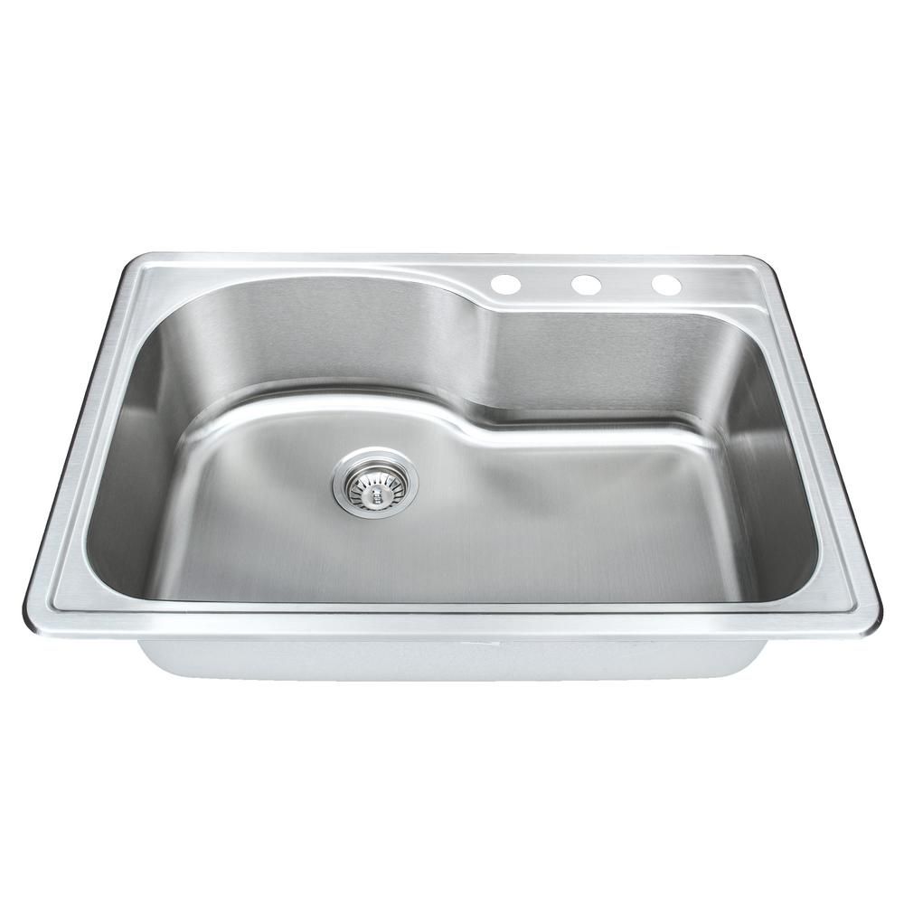 Wells The Chefs Series Undermount 21 in. Stainless Steel Handmade Single  Bowl Kitchen Sink Package