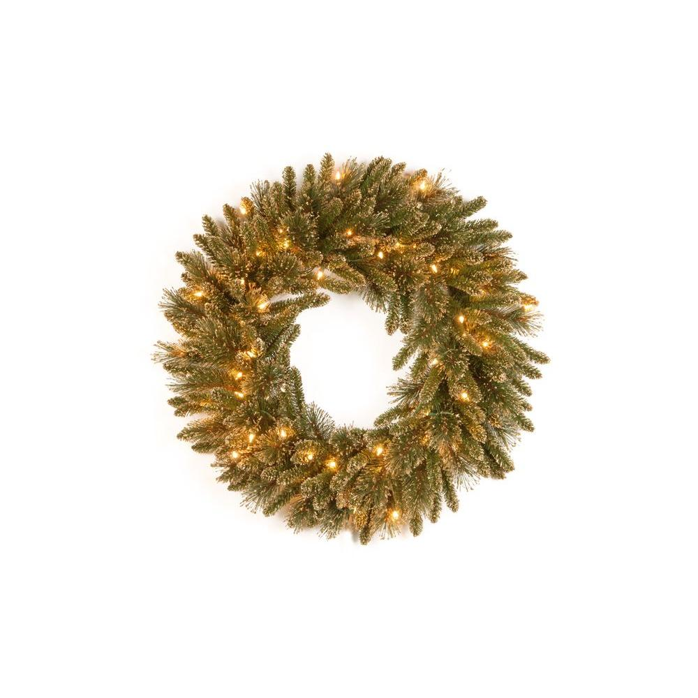 30 in. Glittery Gold Pine Artificial Wreath with Glitter, Gold Cones,