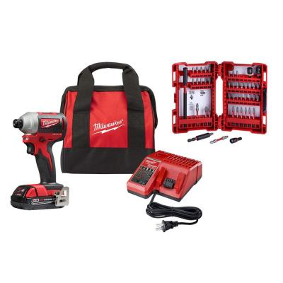 M18 18-Volt Lithium-Ion Compact Brushless Cordless 1/4 in. Impact Driver Kit with SHOCKWAVE Bit Set (45-Piece)