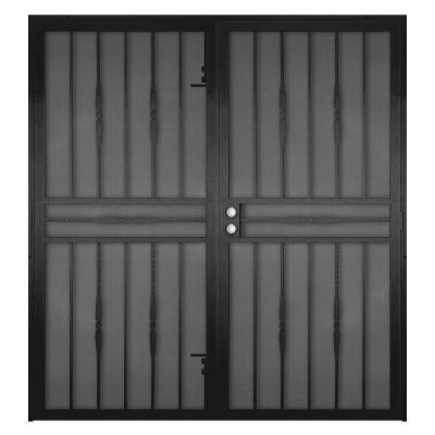 72 in. x 80 in. Cottage Rose Black Surface Mount Outswing Steel Security Double Door with Expanded Metal Screen