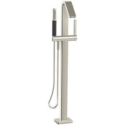 Loure Single-Handle Floor Mount Freestanding Tub Faucet with Hand Shower in Vibrant Polished Nickel