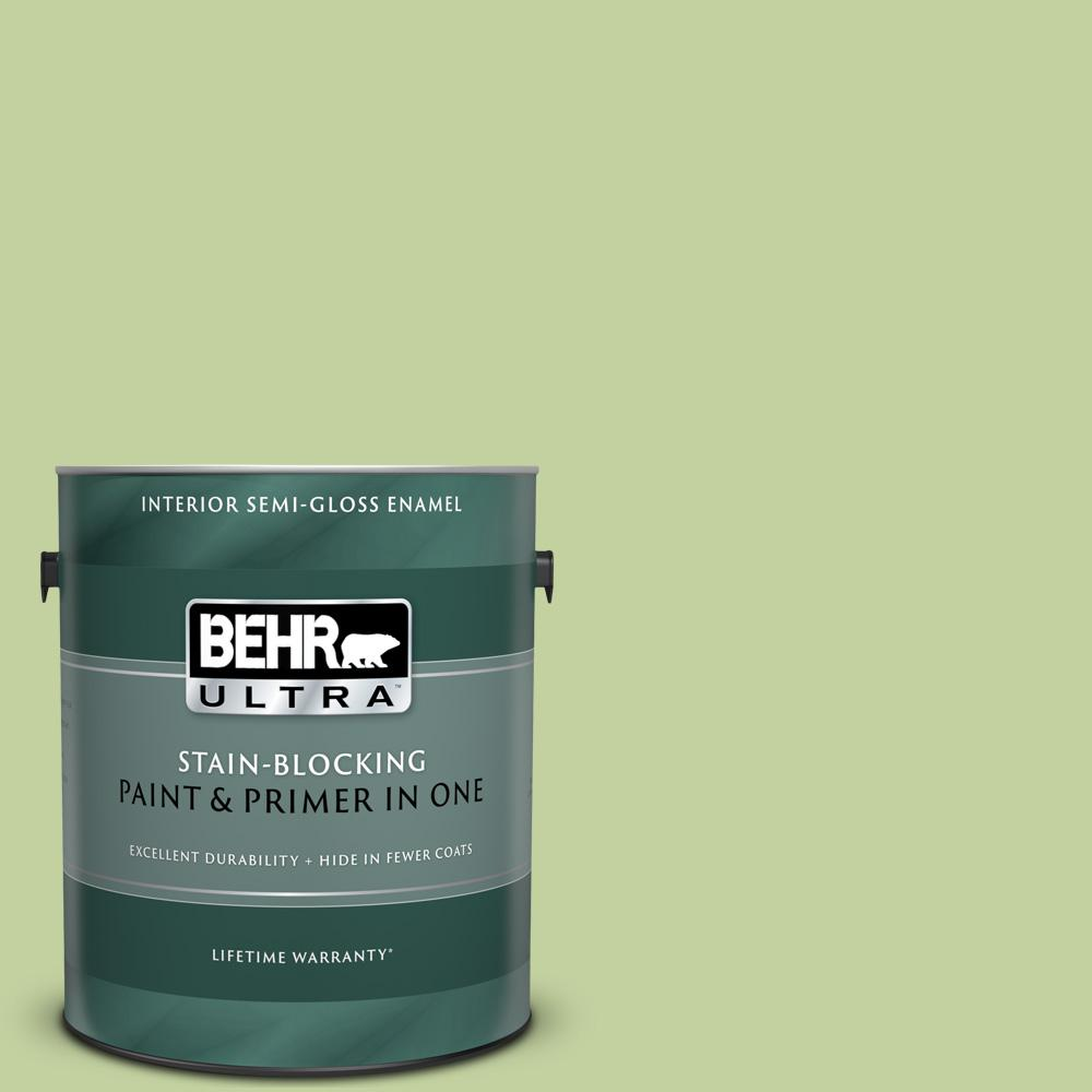 Behr Ultra 1 Gal P370 4 Cricket Field Semi Gloss Enamel Interior Paint And Primer In One 375401 The Home Depot