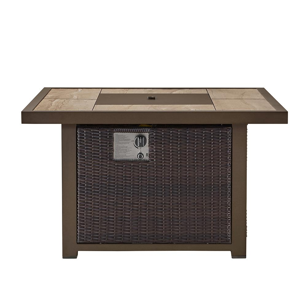 OVE Decors Belo 42 in. x 24.6 in. Square Aluminum Propane Fire Pit Table in Brown