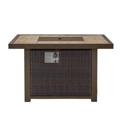Belo 42 in. x 24.6 in. Square Aluminum Propane Fire Pit Table in Brown