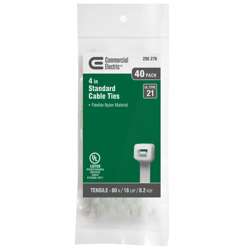 Commercial Electric 4 in. Cable Tie - Natural (40-Pack)