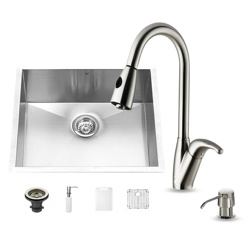 VIGO All-in-One Undermount Stainless Steel 23 in. Single Basin Kitchen Sink in Stainless Steel