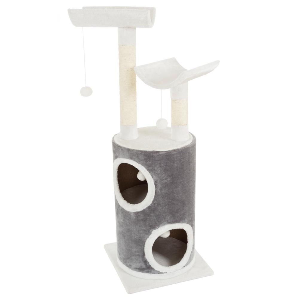 Petmaker Gray And White 5 Tier Double Decker Cat Condo Tree With 2 Scratching Posts