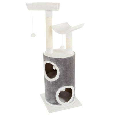 Gray and White 5 Tier Double Decker Cat Condo Tree with 2 Scratching Posts